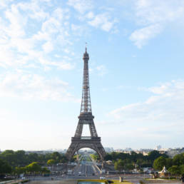 Eiffel Tower with blue sky background